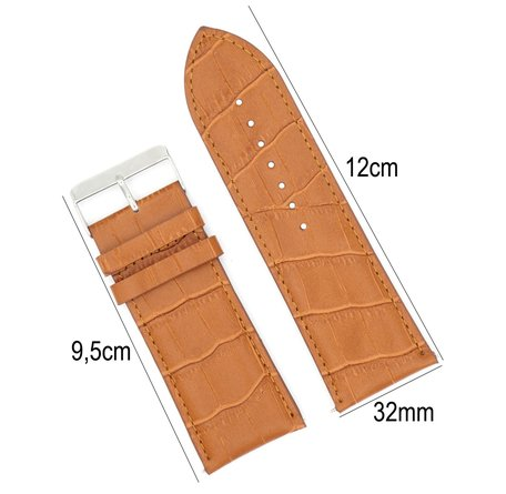 Horlogeband Leer 32mm - Croco Band  + Push Pin - Licht Bruin