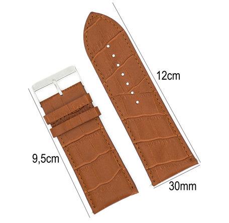 Horlogeband Leer 30mm - Croco Band + Push Pin - Donker Bruin
