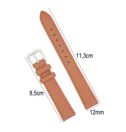 Horlogeband Leer 12mm - Gehechte Rand  + Push Pin - licht Bruin
