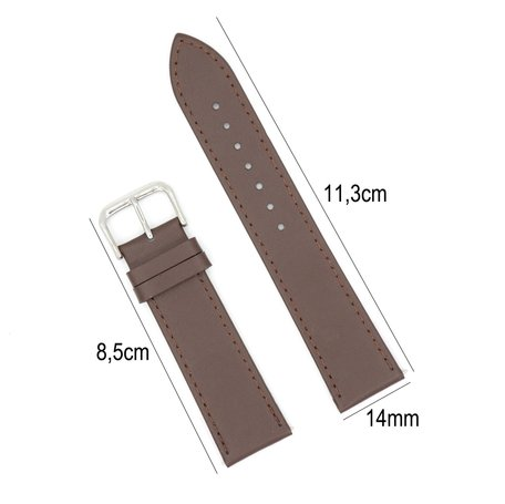 Horlogeband Leer 14mm - Gehechte Rand  + Push Pin - Donker Bruin