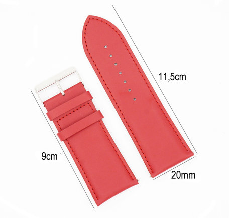 Horlogeband Leer 20mm - Gehechte Rand  + Push Pin - Rood