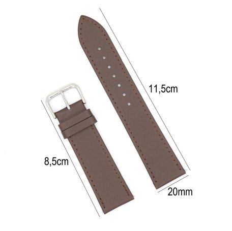 Horlogeband Leer 20mm - Gehechte Rand  + Push Pin - Donker Bruin