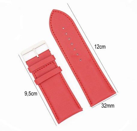 Horlogeband Leer 32mm - Gehechte Rand  + Push Pin - Rood