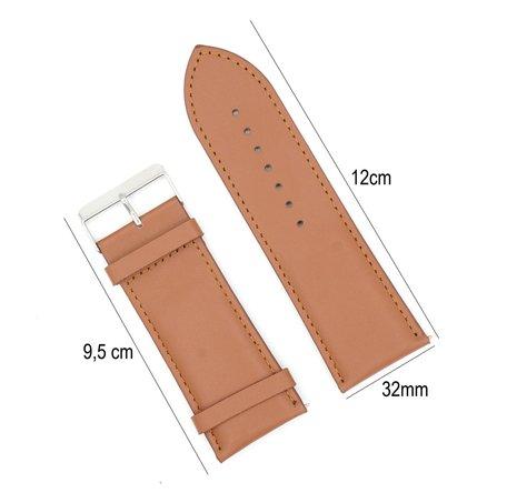 Horlogeband Leer 32mm - Gehechte Rand  + Push Pin - Licht Bruin