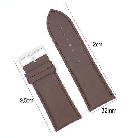 Horlogeband Leer 32mm - Gehechte Rand  + Push Pin - Donker Bruin
