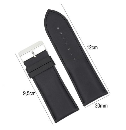 Horlogeband Leer 30mm - Gehechte Rand  + Push Pin - Zwart