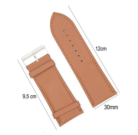 Horlogeband Leer 30mm - Gehechte Rand  + Push Pin - Licht Bruin