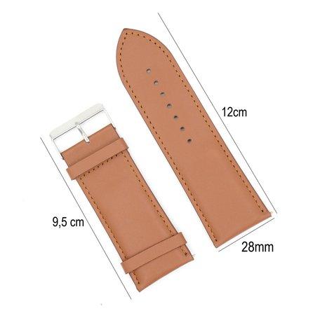 Horlogeband Leer 28mm - Gehechte Rand  + Push Pin - Licht Bruin