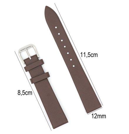 Horlogeband Leer - Met Gladde Oppervlak + Push Pin - 12mm - Donker Bruin