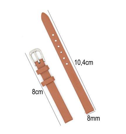 Horlogeband Leer - Met Gladde Oppervlak + Push Pin - 8mm Licht Bruin