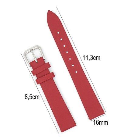 Horlogeband Leer - Met Gladde Oppervlak + Push Pin - 16mm - Rood