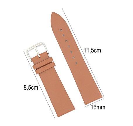 Horlogeband Leer - Met Gladde Oppervlak + Push Pin - 16mm - Licht Bruin
