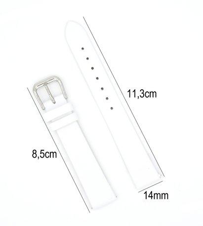 Horlogeband Leer - Met Gladde Oppervlak + Push Pin - 14mm - Wit