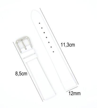 Horlogeband Leer - Met Gladde Oppervlak + Push Pin - 12mm - Wit