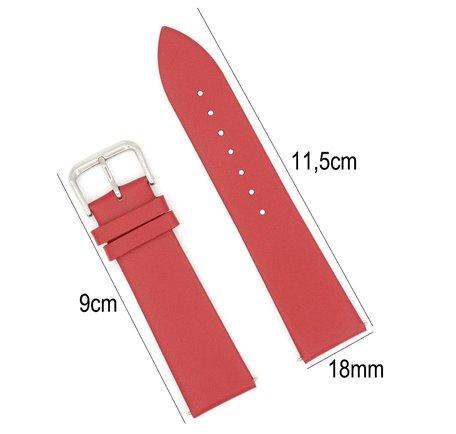 Horlogeband Leer - Met Gladde Oppervlak + Push Pin - 18mm - Rood