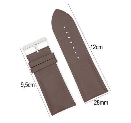 Horlogeband Leer- Met Gladde Oppervlak + Push Pin - 28mm Donker Bruin