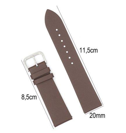 Horlogeband Leer - Met Gladde Oppervlak + Push Pin - 20mm Donker Bruin
