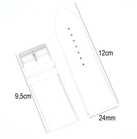 Horlogeband Leer - Met Gladde Oppervlak + Push Pin - 24mm Wit