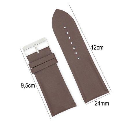 Horlogeband Leer - Met Gladde Oppervlak + Push Pin - 24mm Donker Bruin