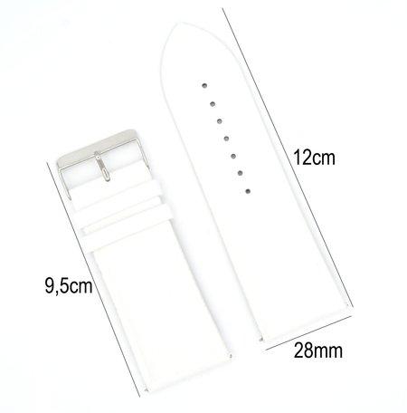Horlogeband Leer- Met Gladde Oppervlak + Push Pin - 28mm Wit