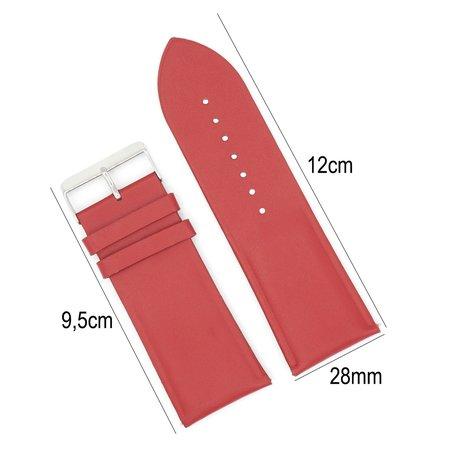 Horlogeband Leer- Met Gladde Oppervlak + Push Pin - 28mm Rood