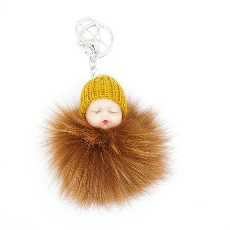 Baby Sleutel/Tas hanger Bruin 17 cm