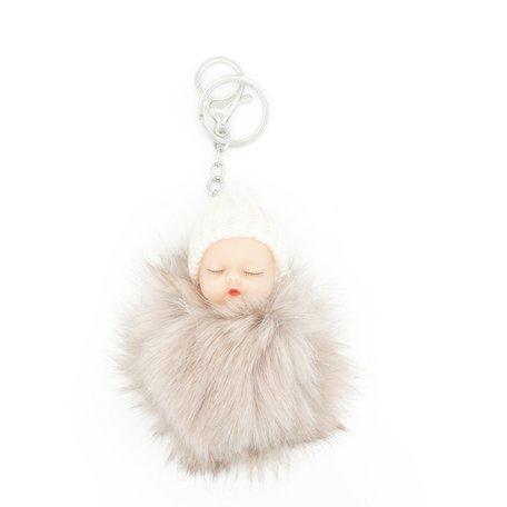 Baby Sleutel/Tas hanger Beige 17 cm