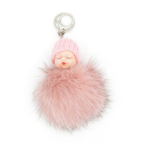 Baby Sleutel/Tas hanger Roze 17 cm