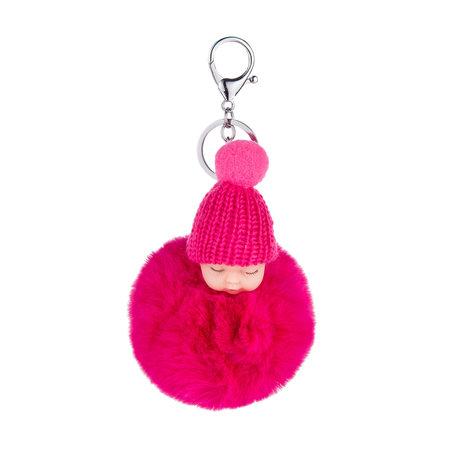 Baby Sleutelhanger/Tas hanger Donker Roze
