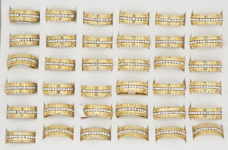 36 RVS Ringen - Goud Verguld met Zirkonia