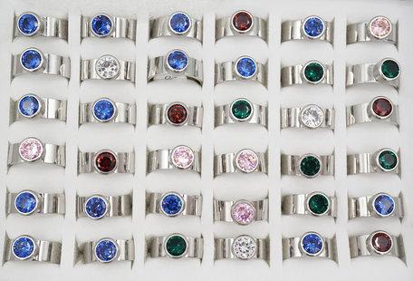 36 RVS Ringen - Zilver Gerhodineerd met Glinsterende Zirkonia