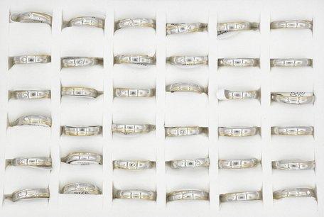 36 RVS Ringen - Zilver Gerhodineerd met Zirkonia
