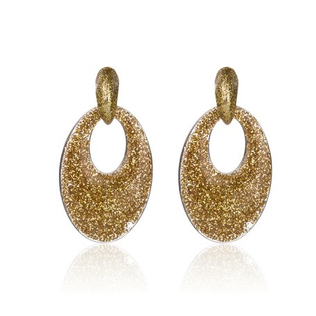 Vintage Earrings with glitters - Oval - 5x3,5 cm - Yellow