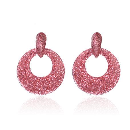 Oorbellen Met Glitters - Rond - Oorhangers 4x4 cm - Rosé