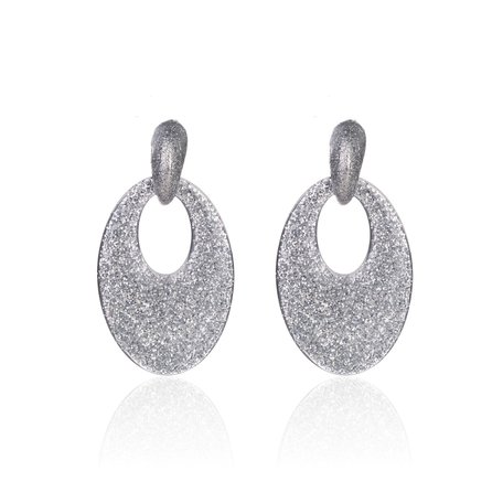 Vintage Earrings with glitters - Oval - 5x3,5 cm - Silver