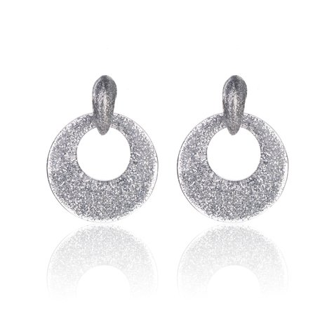 Oorbellen Met Glitters - Rond - Oorhangers 4x4 cm - Zilver