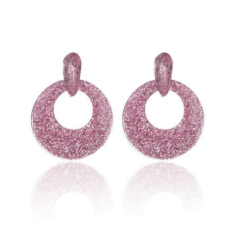 Oorbellen Met Glitters - Rond - Oorhangers 4x4 cm - Roze