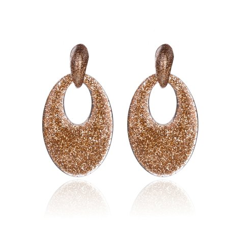 Vintage Earrings with glitters - Oval - 5x3,5 cm - Goud-Oranje