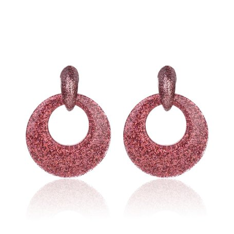 Vintage Earrings with glitters - Round - 4x4 cm - Dark Pink