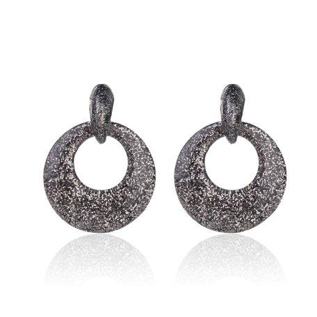 Oorbellen Met Glitters - Rond - Oorhangers 4x4 cm - Zilver / Zwart