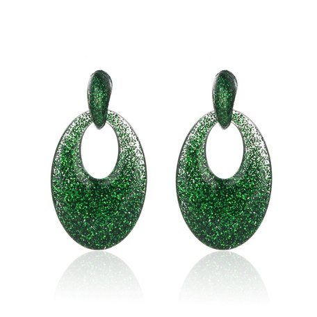 Vintage Earrings with glitters - Oval - 5x3,5 cm - Green