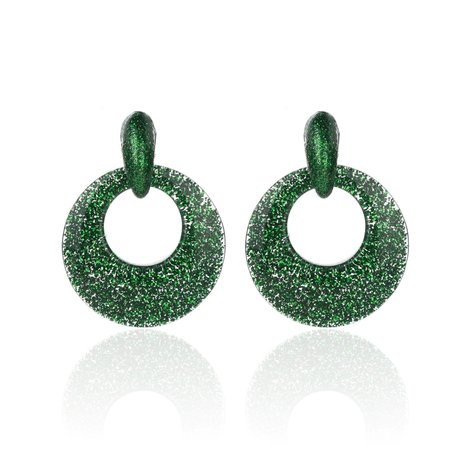 Vintage Earrings with glitters - Round - 4x4 cm - Groen