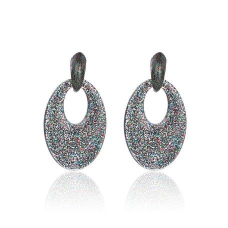Oorbellen Met Glitters - Ovaal - Oorhangers 5x3,5 cm - Multi Color
