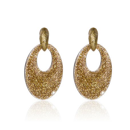 Vintage Earrings with glitters - Oval - 5x3,5 cm - Gold Color