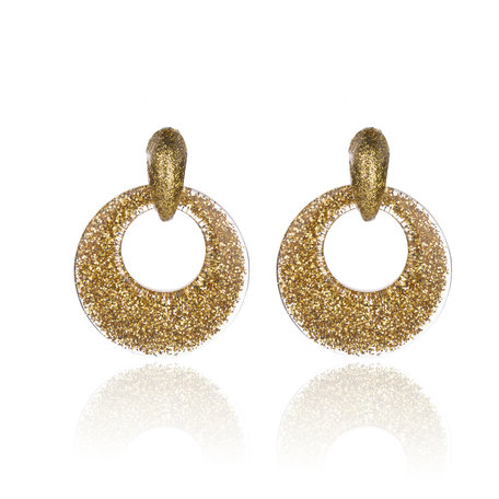 Vintage Earrings with glitters - Round - 4x4 cm - Goud Kleurig