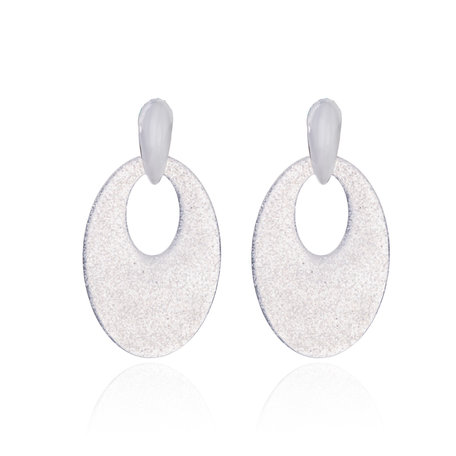 Vintage Earrings with glitters - Oval - 5x3,5 cm - White