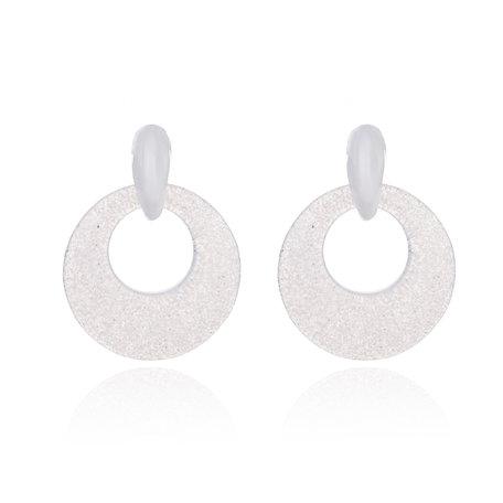 Oorbellen Met Glitters - Rond - Oorhangers 4x4 cm - Wit