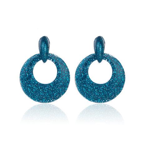 Oorbellen Met Glitters - Rond - Oorhangers 4x4 cm - Blauw