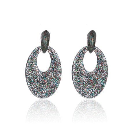 Vintage Earrings with glitters - Oval - 5x3,5 cm - Multi Color