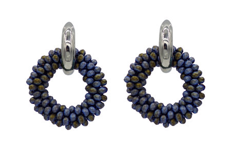 EARRING OF FACET GLASS BEADS - BLUE